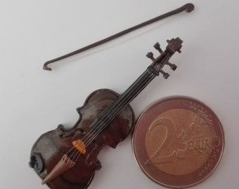 Realistic miniatures, musical instrument: violin + bow + support. Dollhouse furniture-home decor. 3 piece set.Dollhouse Miniature 1 12 scale