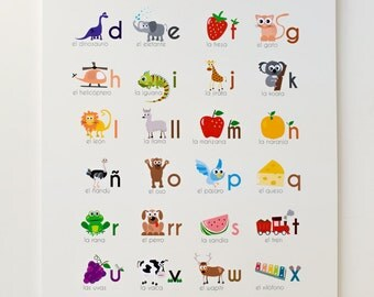 "Spanish Alphabet 12""x18"" Print"