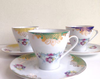Set of 3 Vintage Bareuther Bavaria Cup and Saucer Germany