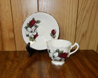 Royal Stuart Bone China, Spencer Stevenson Red and White Floral Teacup and Saucer