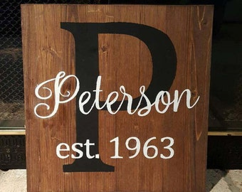 Custom Made Last Name Sign | Last Name Sign | Custom Made | Wedding Sign | Established Date | Family Name Sign | Wedding Gift | Anniversary