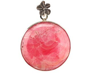 Rhodocrosite and sterling silver pendant.
