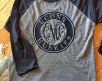 UCONN College Framed Monogram Tee, Huskies, Baseball Tee, Tank, Long Sleeve, Short Sleeve, Connecticut, University of Connecticut