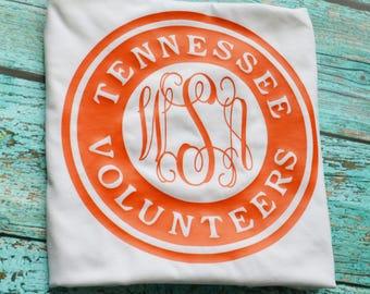 Tennessee College Framed Monogram Tee, Volunteers, Baseball T, Tank, Long Sleeve, Short Sleeve, Vols, University of Tennessee Tennessee Vols