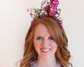 birthday headband adult, adult party hats, polka dot hair bow, hot pink headband, pink birthday hat, present tower, birthday party hats