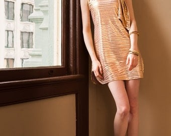 Golden dress with a drop tie collar and two slits.Get 50% OFF listed price with promo code :  SUMMERSAMPLE