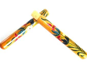Vintage Floral wooden needle case, Folk art souvenir. Sewing storage. #64CG1EDK10