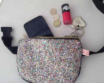 Multi-disco coloured glitter bum bag /fanny pack/festival belt bag