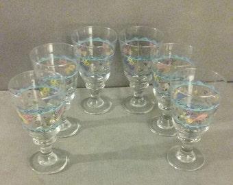 Beautiful Vintage Set Of 6 Sango Sweet Shoppe Sue Zipkin Libbey 12 Fl Oz Pedestal Water Goblets,  Perfect Condition