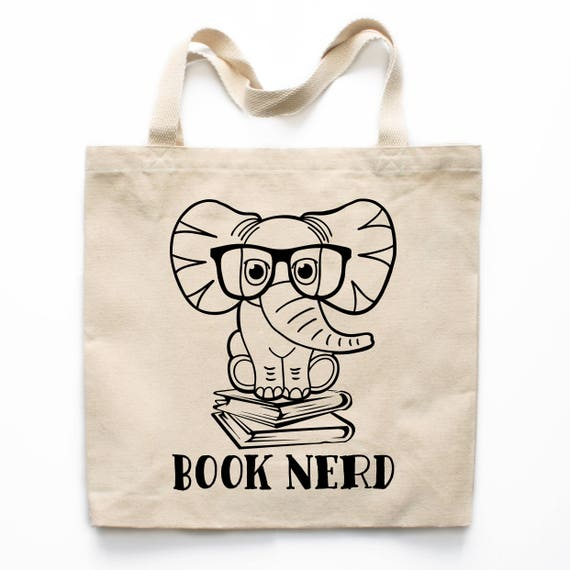 elephant book bag book lover gift book tote bag book