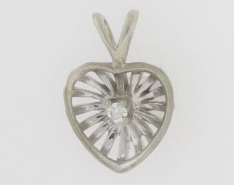 Antique 1920's Diamond Heart Pendant - 10k White Gold