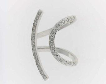Vintage Diamond Wrap Ring- 18k White Gold