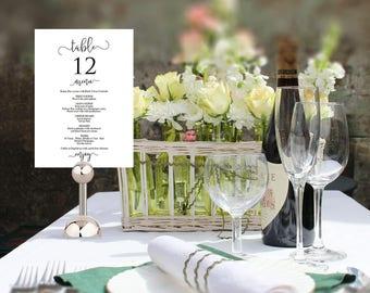 Wedding Menu Template, Wedding Table Number, Wedding Menu Printable, Printable Table Number, Wedding Menu Cards, Numbers & Menu Card, CDA