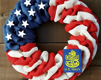 Navy wreath patriotic burlap wreath military wreath veterans day wreath memorial day wreath independence day wreath fourth of July wreath