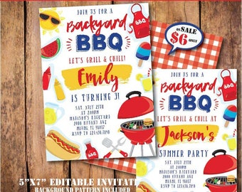 Self-Editing BBQ Party Invitation-Printable Backyard BBQ Birthday Party-Pool Party-Summer Party-Pool Side Party-First Birthday-Any age-A133