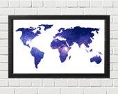 World Map Cross Stitch Pattern - Modern Galaxy Cross Stitch Pattern