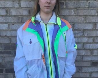 1 DOLLAR SHIPPING // Neon Colorblock Vintage Jacket