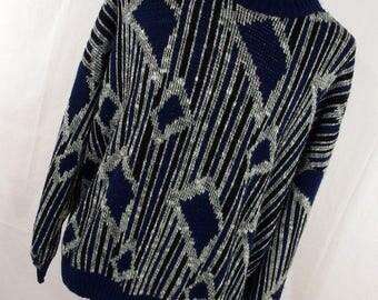 Vintage 80s 90s Sweater Beaucoup Navy Blue White Crew Neck Geometric 3XL XXXL Crew Neck Mens L/S L1