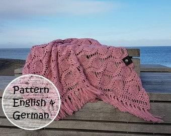 pineapple pattern Shawl, crochet pattern triangle shawl, English pattern, pineapple crochet, scarf, skjerf, Schal, halstørklæde