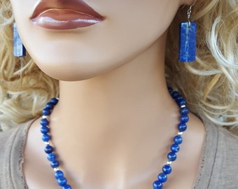 Lapis Lazuli and Sterling Silver Necklace, 8mm Round Lapis Lazuli Gemstone and Sterling Silver Beaded Necklace, Blue Lapis Beaded Necklace