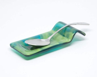 Coffee Spoon Rest - Blue and Green Spoon Holder - CoffeeBar Accessories - Tea Bag Holder - Spoon Rest - Stove Spoon - Kitchen Decor -50109