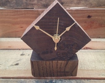 Scrap Wood Desk Clock, Pallet Wood Clock, Reclaimed Wood Clock