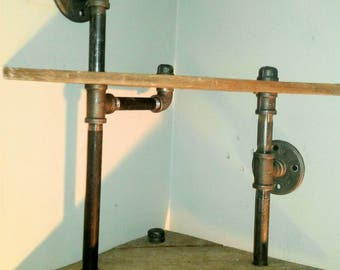 Industrial Corner Shelf-  2 tier  Steampunk Pipe Corner Shelf- Rustic Industrial shelving