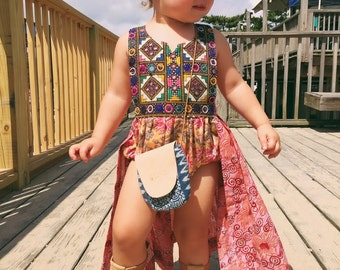 ADD ON Block Print Wrap Skirt for Romper or Bloomer, Toddler Wrap Skirt, Baby Skirt, Block Print Baby, Skirted Romper, Bohemian Kids Clothes