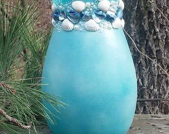 Seashells and Pearls Painted Vase