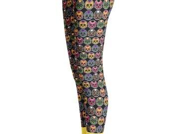 Day of the dead Leggings - skull Leggings - Skull Costume - Yoga Leggings - Halloween Leggings - Womens Leggings -  Children Leggings