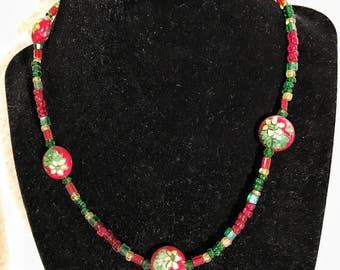Red and green flowered beaded necklace