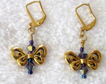 Purple Swarovski Crystal Bicone Butterfly Earrings - Nature Inspired Butterfly Jewelry - Purple & Gold Butterfly Dangle Earrings