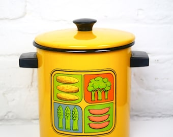 Vegetable Steamer Enamel Yellow
