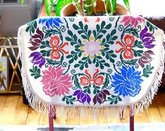 Embroidered Floral Fringe Small Round Tablecloth dresser scarf