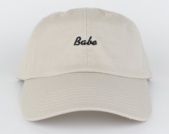 Babe Hat - Tan Embroidered Dad Hat - Polo Hat - Curved Brim Six Panel Fabric Strap Hat - Brand New