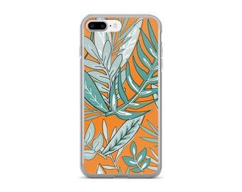 Jungle Print iPhone Case | Phone Case | Botanical iPhone Case | Green & Orange | iPhone 7 Plus | iPhone 6 Case | Nature Inspired | Plants