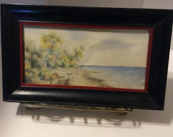 Vintage watercolor painting, vintage painting, beach scene, seascape
