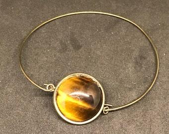 Brass Hook Bracelet with Genuine Tigers Eye Stone Cabochon
