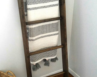 Blanket Ladder - Rustic Blanket Ladder - Wood Ladder