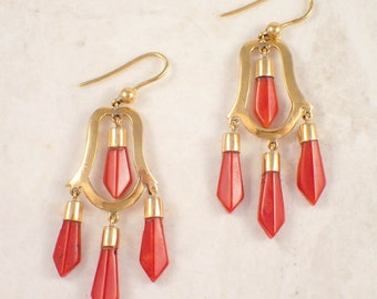 Antique 18K Yellow Gold Coral Earrings