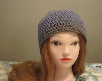 Woman's Slouchy Hat, Blue Grey Slouchy Hat