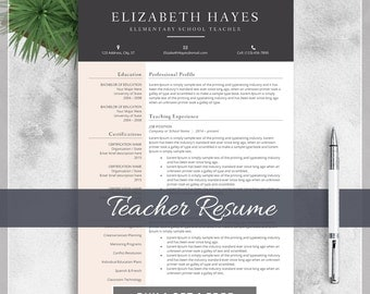 teacher resume template cv template for ms word creative professional teacher resume design with - Free Teaching Resume Template