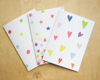 Dots hearts and stars pack greeting birthday cards collage original design blank inside