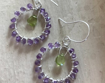 Amethyst Wrapped with Sterling Silver & Peridot Earrings