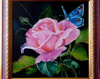 Oil painting, Flowers, Rose, Butterfly, Gift for her, Gift for mom