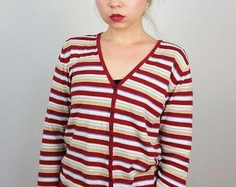 FRANSA Vintage 90's Striped V-neck Cardigan