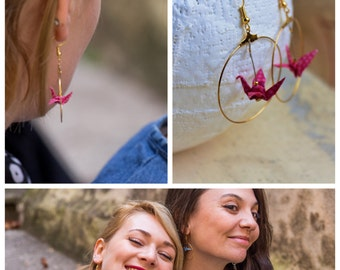 "Crane origami ""Pink Lady"" and gold hoop earrings"
