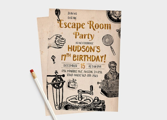 Escape Room Invitations Escape Room Party Escape Room
