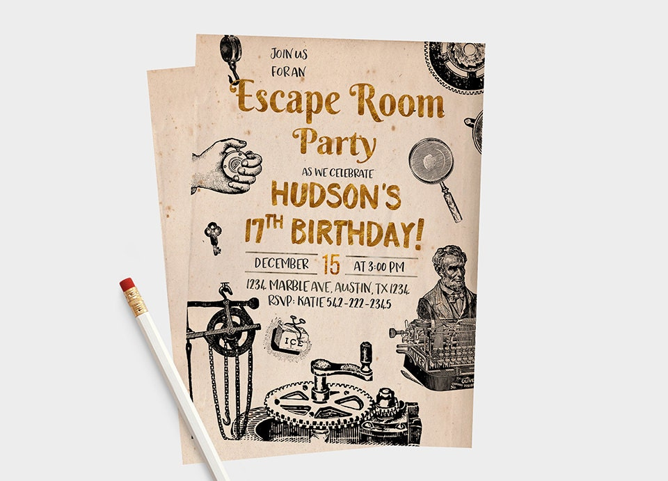 Escape room invitations escape room party escape room for Escape room party