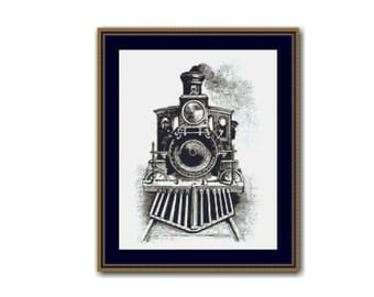 2 for 1 SALE! - Steam Locomotive Cross Stitch Chart, Steam Train Instant Download Cross Stitch Pattern, Railway Embroidery (P-023)